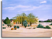 Villa with prickly pear 48 x 36ins (120 x 90cm)
