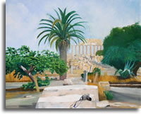 Selinunte with palm 30 x 36ins (75 x 90cm)